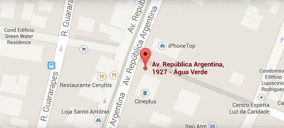 Mapa de localização do Shopping AguaVerde