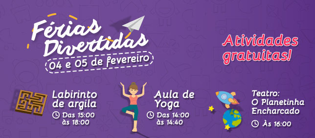 Confira as atividades infantis do Shopping para os dias 4 e 5